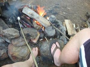 Campfire and roasting marshmallows